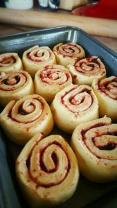 Black Cherry Sweet Rolls cut risen