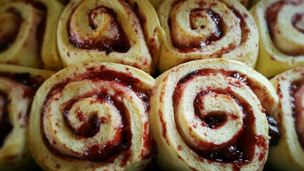 Black Cherry Sweet Rolls out of oven